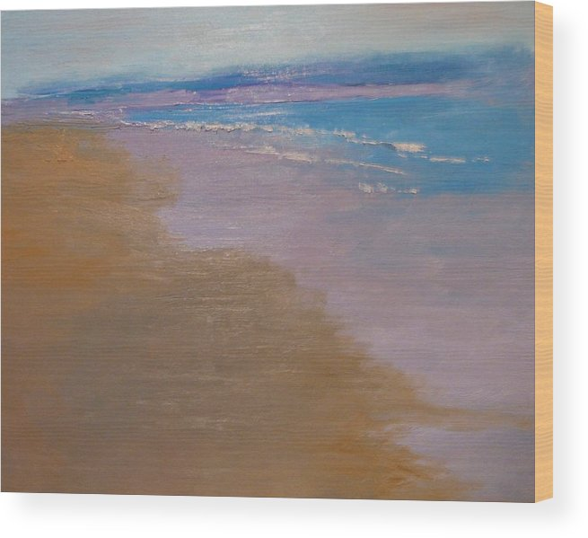 Sea Scape Wood Print featuring the painting sold December Sea Shore in California by Irena Jablonski