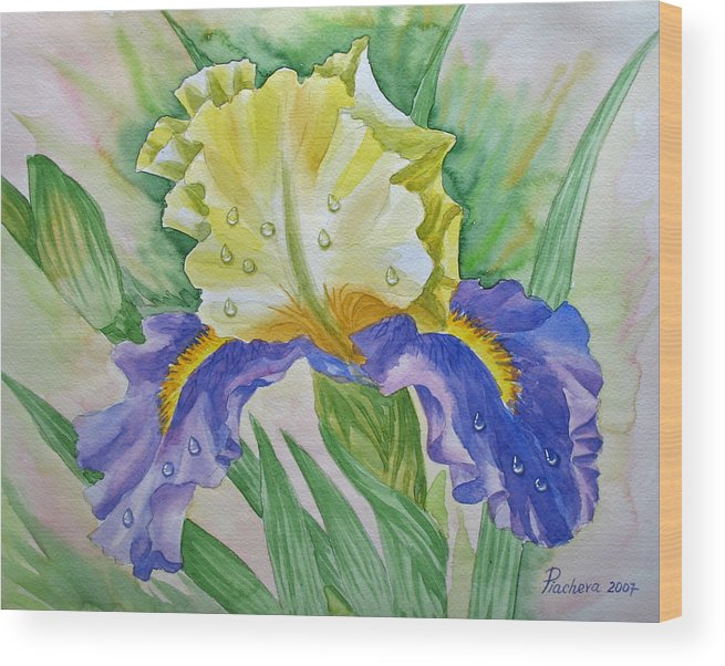 Flowers Wood Print featuring the painting Dew Drops Upon Iris.2007 by Natalia Piacheva