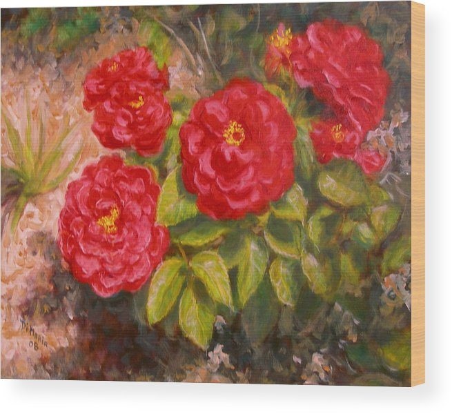 Realism Wood Print featuring the painting Diane's Roses by Donelli DiMaria