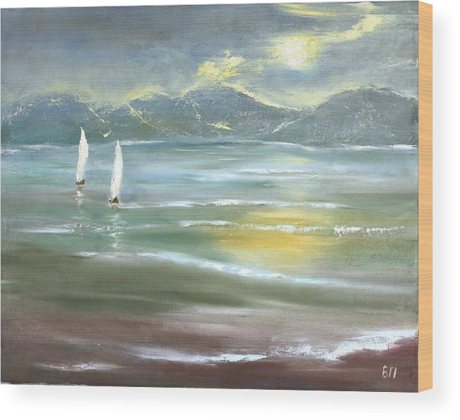 Seascape Wood Print featuring the painting Distant Coast by Vera Persiyanova