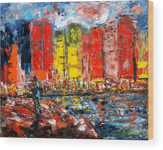 Abstract Wood Print featuring the painting Dock By The Bay by Claude Marshall