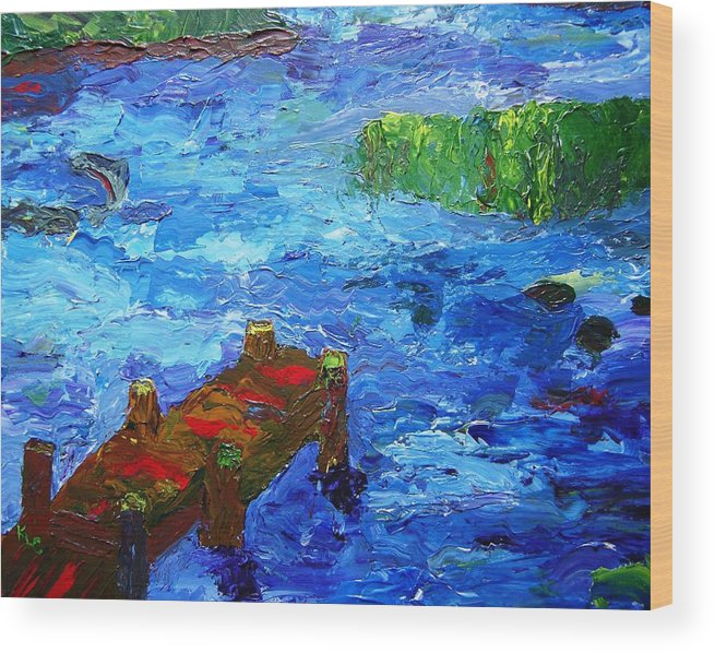 Marsh Wood Print featuring the painting Dock On The Marsh by Karen L Christophersen
