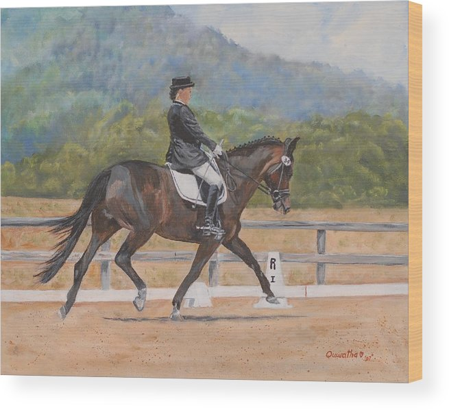 Horse Wood Print featuring the painting Donnerlittchen by Quwatha Valentine