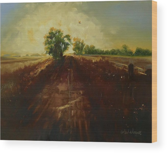 Landscape Wood Print featuring the painting Dragonfly On Maggie's Farm by Walter Weaver