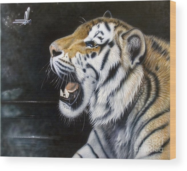 Tiger Wood Print featuring the painting Dragonfly by Sandi Baker