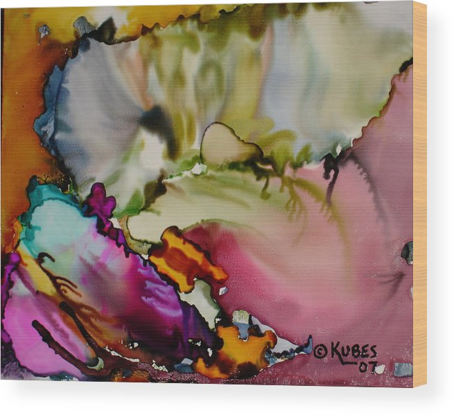Abstract Wood Print featuring the painting Dreaming by Susan Kubes