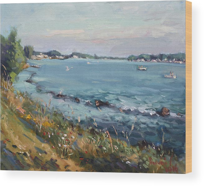 Evening Wood Print featuring the painting Early Evening At Gratwick Waterfront Park by Ylli Haruni