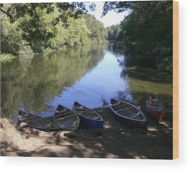Boats Wood Print featuring the photograph Elm Bank - Boats by Nancy Ferrier