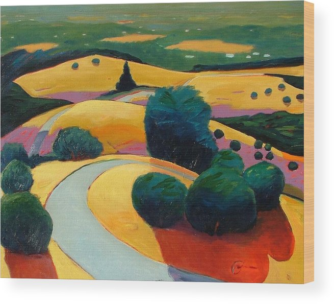 Rolling Hills Wood Print featuring the painting End In Sight by Gary Coleman