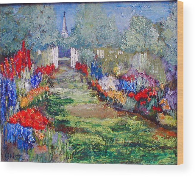 Landscape Wood Print featuring the painting Enter His Gates by Gail Kirtz