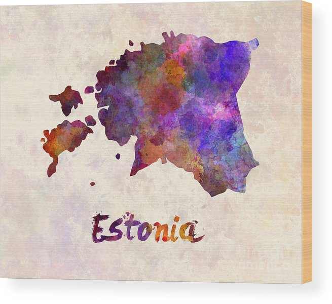 Estonia Wood Print featuring the painting Estonia In Watercolor by Pablo Romero