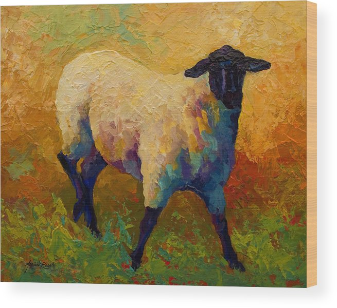 Sheep Wood Print featuring the painting Ewe Portrait Iv by Marion Rose