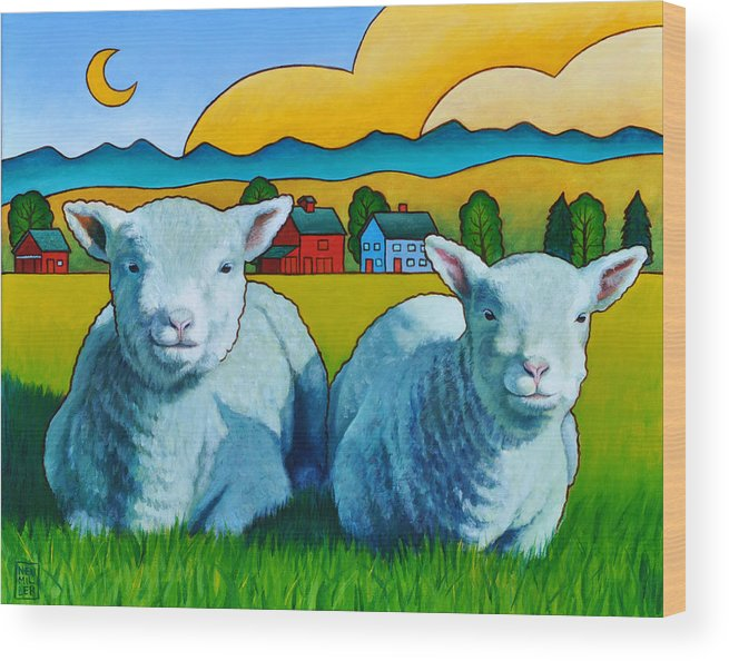 Ewe Wood Print featuring the painting Ewe Two by Stacey Neumiller