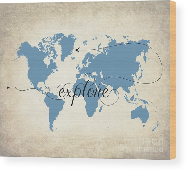 Wordl Map Wood Print featuring the digital art Explore by Gyongyi Ladi