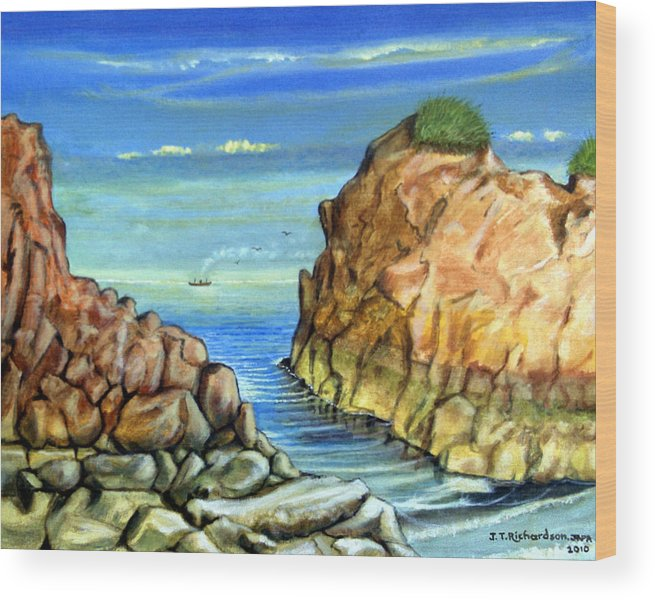 Grass Rocks Wood Print featuring the painting Eynmouth South East Scotland by James Richardson
