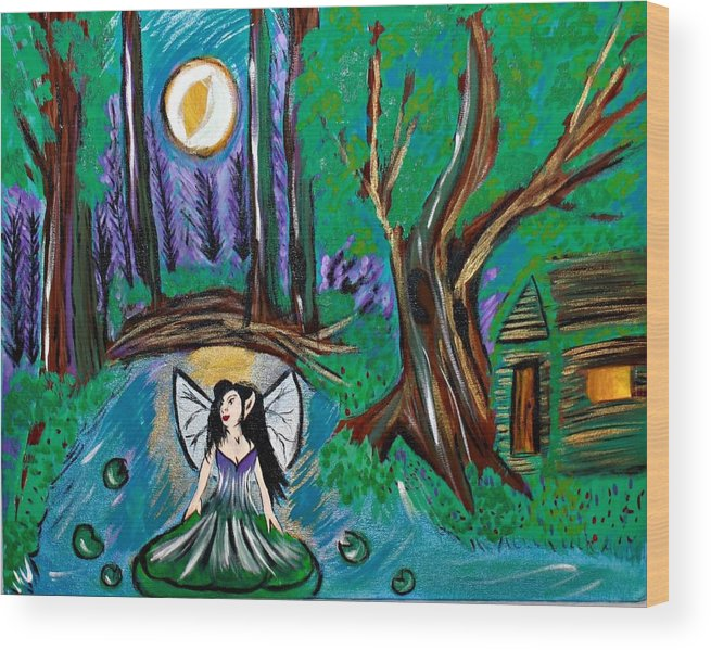 Fairy Wood Print featuring the painting Fairytopia by Suzy Marie Inman