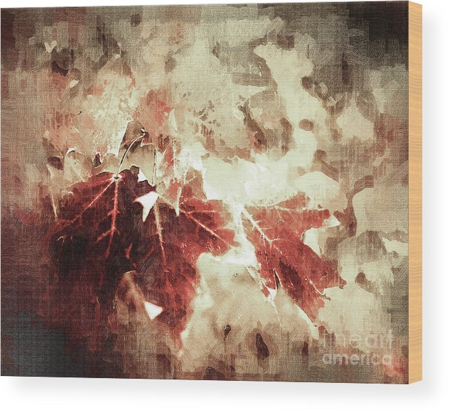 Leaves Wood Print featuring the digital art Fall Leaves by Anthony C Ellis