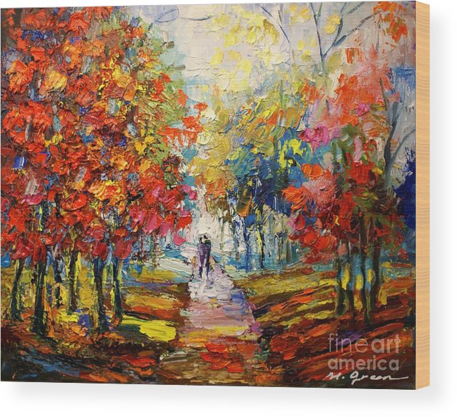 Artwork Wood Print featuring the painting Fall by Maya Green