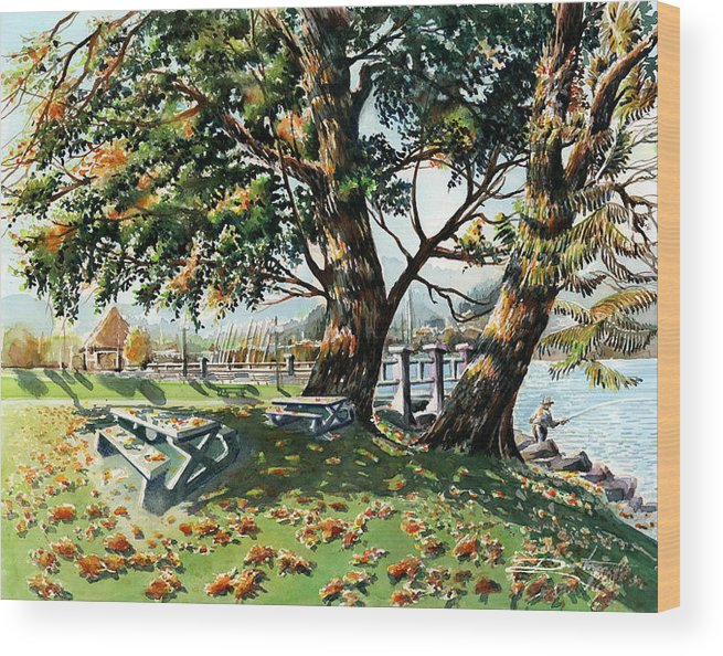 Landscape Wood Print featuring the painting Fall Shapes Roky Point Park by Dumitru Barliga