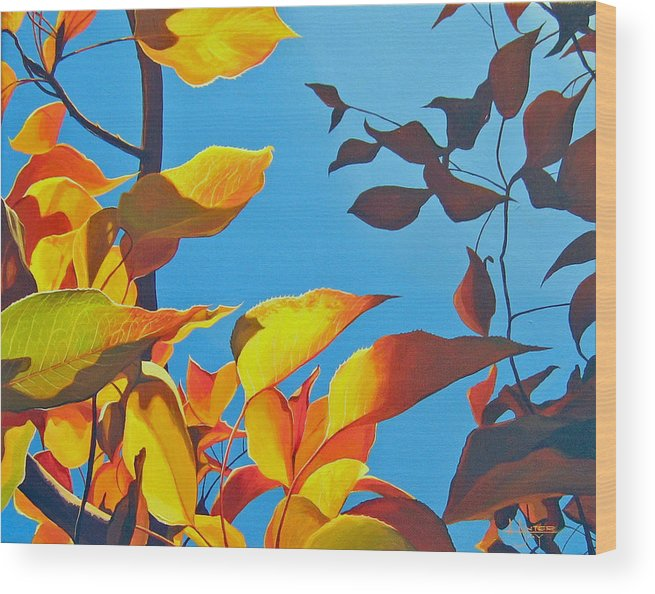 Fall Wood Print featuring the painting Farewell To Summer by Hunter Jay