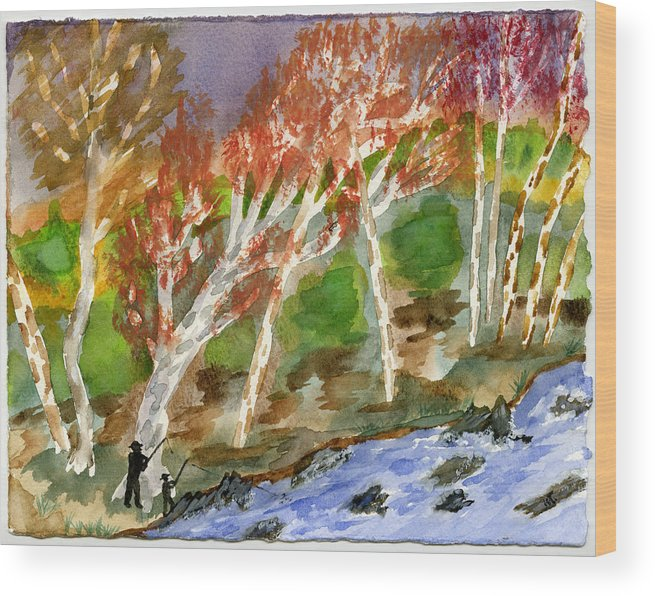 Watercolor Wood Print featuring the painting Father And Son by Warren Thompson