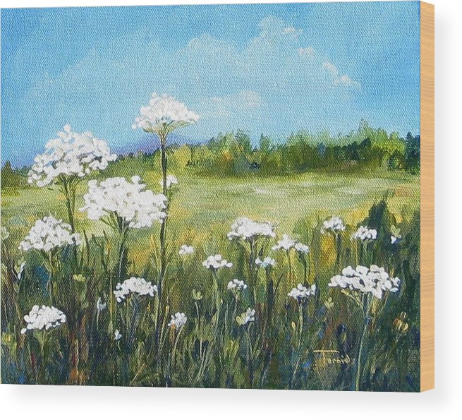 Flowers Wood Print featuring the painting Field Of Lace by Torrie Smiley