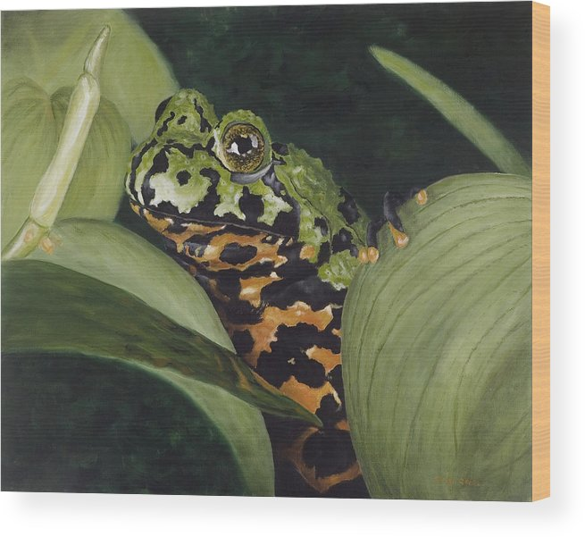 Toad Wood Print featuring the painting Fire Belly Toad by Elizabeth Rieke Hefley