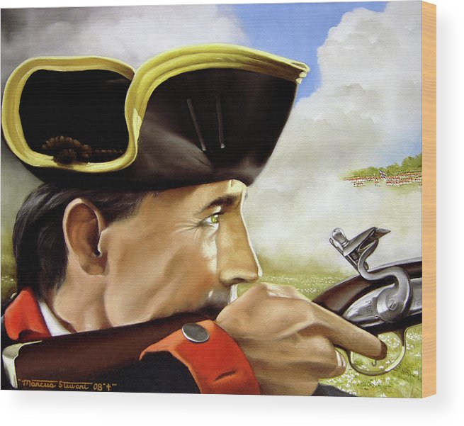 Continental Wood Print featuring the painting First To Fight by Marc Stewart