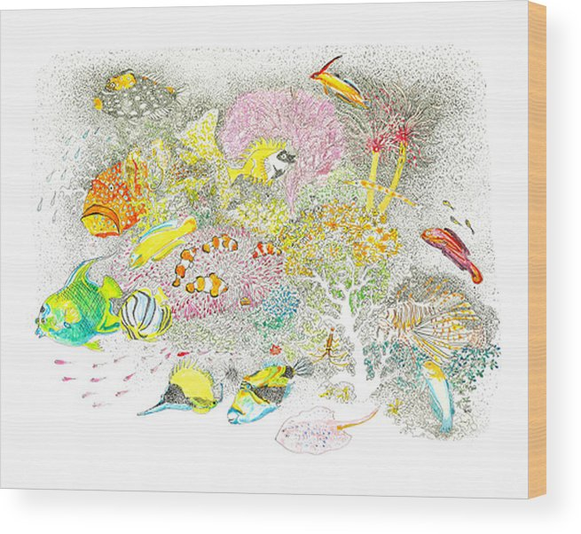 The Sea Wood Print featuring the drawing Fish Are Everywhere by Terry Adamick