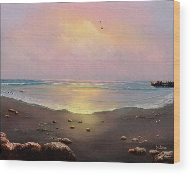 Ocean Wood Print featuring the painting Fishermen's Cove by Sena Wilson