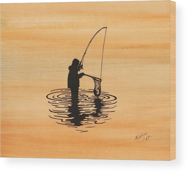 Fish Wood Print featuring the painting Fishing by Edwin Alverio
