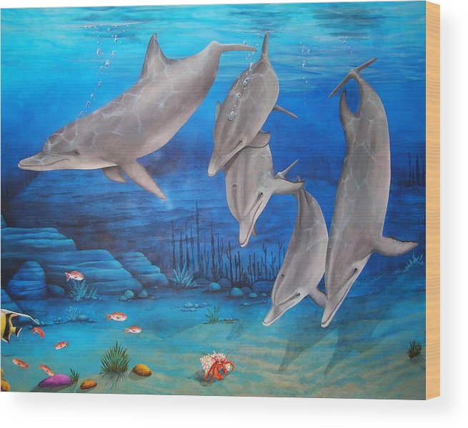 Dolphin Wood Print featuring the painting Five Friends by Cindy D Chinn