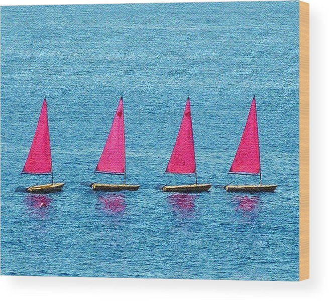 Sailing Boats Spain Wood Print featuring the photograph Flotilla by John Bradburn