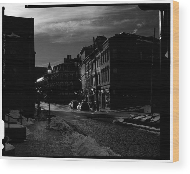 Black And White Wood Print featuring the photograph Fore Street by Filipe N Marques