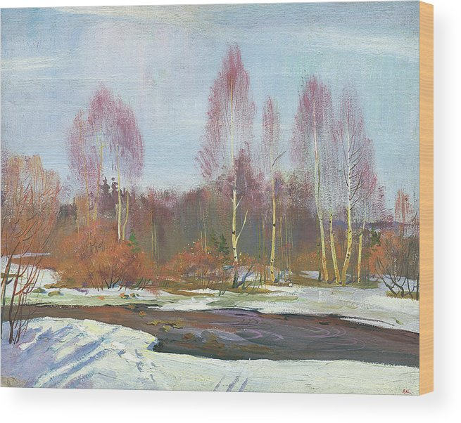Winter Wood Print featuring the painting Forest River In Winter by Yue Minjun