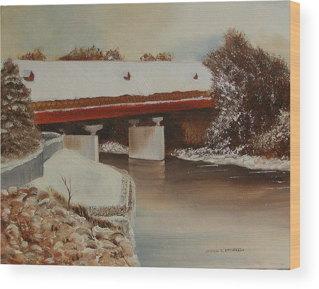 Original Oil Winter Landscape Wood Print featuring the painting Frankenmuth Michigan by Sharon Steinhaus