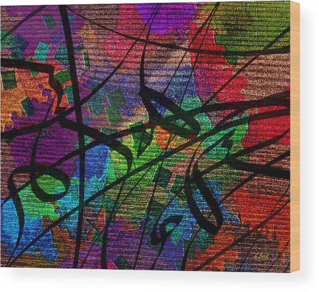 Contemporary Abstract Textured Design Flowing Vibrant Colorful Gordon Beck Art Wood Print featuring the painting Free Fall by Gordon Beck