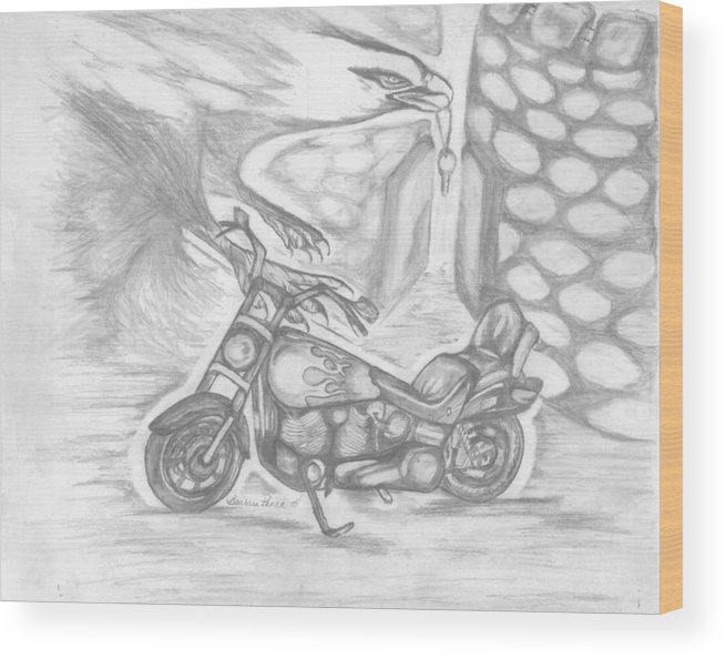 Harley Wood Print featuring the drawing Freedom by Barbara Cleveland