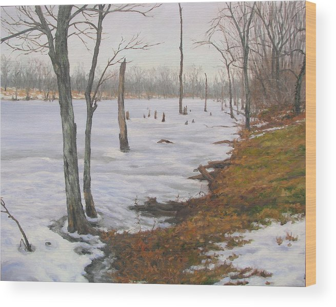 Landscape Wood Print featuring the painting Frozen Lake by Stephen Howell