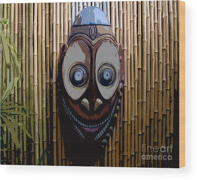 Funny Wood Print featuring the digital art Funny Face by David Lee Thompson
