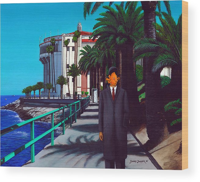 Catalina Wood Print featuring the painting Gary Baldie by Snake Jagger