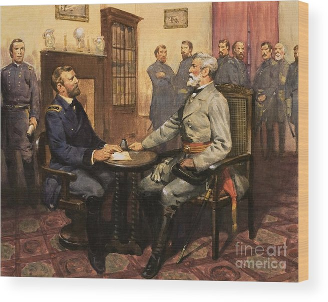 General Grant Meets Robert E. Lee By English School (20th Century) Great Commanders: Hero Of The Southland. General Grant Meets Robert E. Lee. America; Army; Soldiers; American; Flag; American Civil War; Robert E Lee; General Grant; Surrender; Confederate; Union; Us Wood Print featuring the painting General Grant Meets Robert E Lee by English School