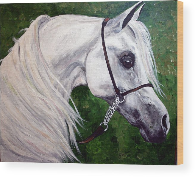 Horse Wood Print featuring the painting Gentle Arabian by BJ Redmond