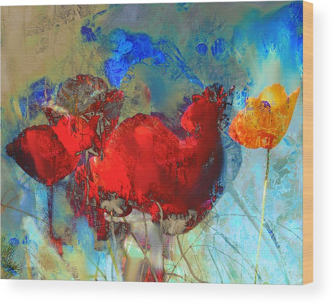 Flowers Wood Print featuring the painting Gentle Poppies by Anne Weirich