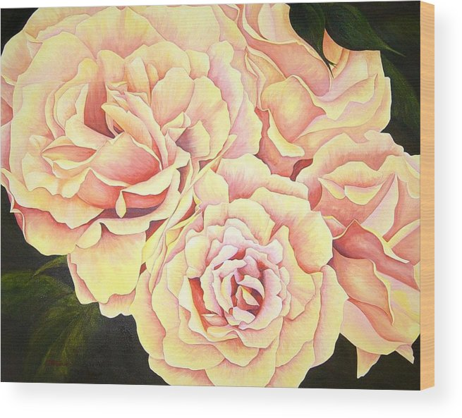 Roses Wood Print featuring the painting Golden Roses by Rowena Finn