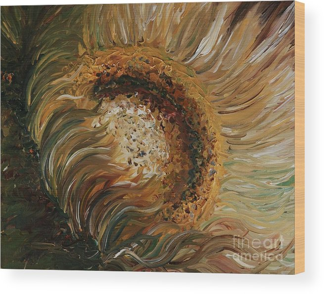 Sunflower Wood Print featuring the painting Golden Sunflower by Nadine Rippelmeyer
