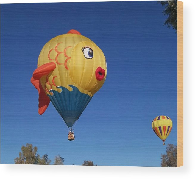 Hot Air Balloon Festival Wood Print featuring the photograph Goldie The Goldfish by Adrienne Wilson