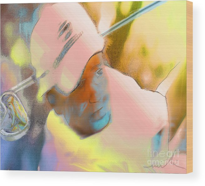 Golf Wood Print featuring the painting Golf Dream by Miki De Goodaboom