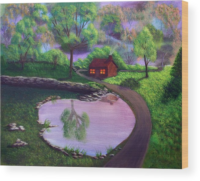 Light Wood Print featuring the painting Good Spring Morning by Dawn Blair