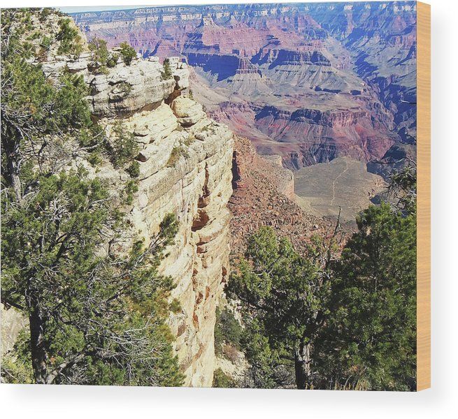 The Grand Canyon Is Arizona's Wonder Of The World. Wood Print featuring the photograph Grand Canyon17 by George Arthur Lareau